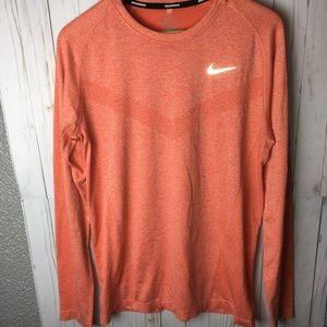 NIKE Running Seamless L/S Shirt SZ M Orange